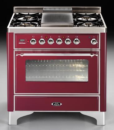"""Ilve Majestic Series UM90FMPY 36"""" Dual Fuel Range Crafted in Italy with 4 Burners and Steel Fry Top Griddle, 2.8 cu. ft. Convection Oven, Rotisserie, Warming Drawer, & Oiled Bronze Trim, in"""
