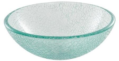 "Kraus GV50014X Singletone Series 14"" Round Vessel Sink with 12-mm Tempered Mosaic Glass Construction, Easy-to-Clean Polished Surface, and Included Pop-Up Drain with Mounting Ring"
