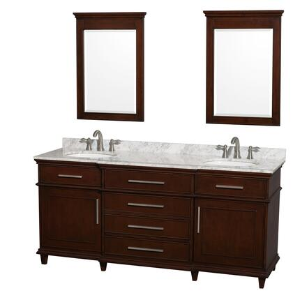 """Wyndham Collection WCV171772D Berkeley 72"""" Double Sink Vanity with White Porcelain Oval Undermount Sinks, 2 Doors, 4 Drawers, Marble Counter Top, in"""