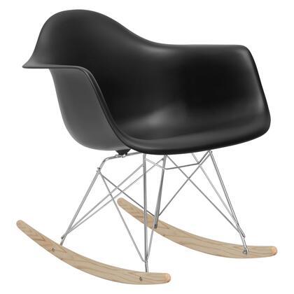EdgeMod EM121BLK Rocker Series  Wood and Metal Frame Rocking Chair