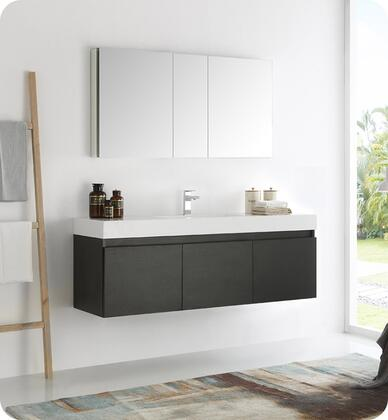 "Fresca Mezzo Collection FVN8041 60"" Wall Hung Modern Bathroom Vanity with Medicine Cabinet, Blum TANDEM Plus BLUMOTION Drawer System and Integrated Acrylic Countertop & Sink in"