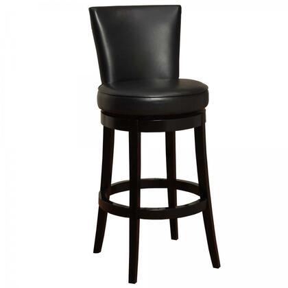Armen Living LC4044BABL Boston Swivel Bar stool with 360 Degree Swivel Mechanism, Fire Retardant Foam Padding and Bycast Leather Upholstery in Black