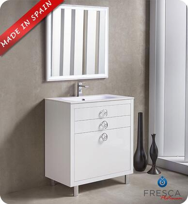 """Fresca Platinum Due FPVN78XXWH XX"""" Bathroom Vanity with 3 Soft Closing Drawers, Chrome Plated Legs and Integrated Ceramic Countertop and Sink in Glossy White"""