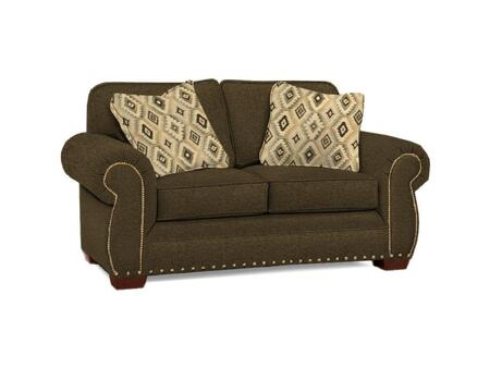"Broyhill Cambridge Collection 5054-1QX 68"" Loveseat with Fabric Upholstery, Rolled Arms, Nail Head Trim and Casual Style"