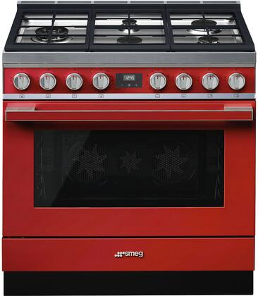 """Smeg CPF36UGMRD 36"""" Dual Fuel Freestanding Range with Sealed Burner Cooktop, 4.5 cu. ft. Primary Oven Capacity, Storage in Red"""