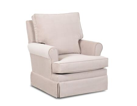 """Klaussner Gwinnett N-26-SWGL 32"""" Swivel Gliding Rocker with Tailored Skirt, Classic Roll Arms and Two Seat Cushions in"""