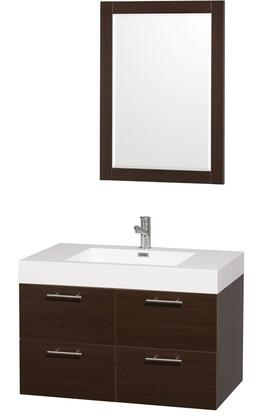 """Wyndham Collection WC-R4100-36-AR Amare 36"""" Sink Vanity with Acrylic-Resin Top and Integrated Square Sink in"""