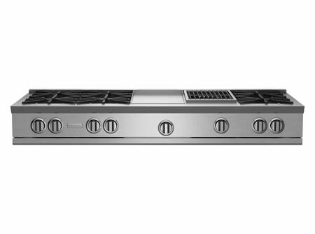 """BlueStar RGTNB Series RGTNB606GCBV1 60"""" Gas Rangetop with 6 Open Burners, ULTRANOVA 22,000BTU Burners, Simmer Burner, 12"""" Charbroiler/ Griddle, Automatic Ignition, Heavy-Duty Knobs, and Full Motion Grates"""