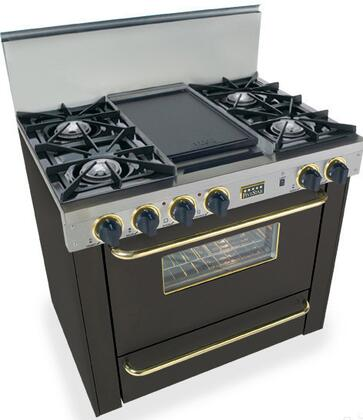 "FiveStar TPN3107SW 36""  Black with Brass Gas Freestanding Range with Open Burner Cooktop, 3.69 cu. ft. Primary Oven Capacity, Broiler"
