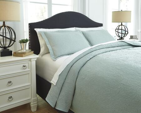 Signature Design by Ashley Bazek Q7570 3 PC Queen Size Coverlet Set includes 1 Coverlet and 2 Standard Shams with Matelasse Design and Cotton Material in Color