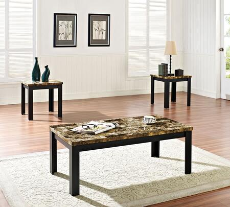 Acme Furniture Finely Collection 3 PC Living Room Table Set with Faux Marble Top, Medium-Density Fiberboard (MDF) and Marble Paper Veneer Materials in