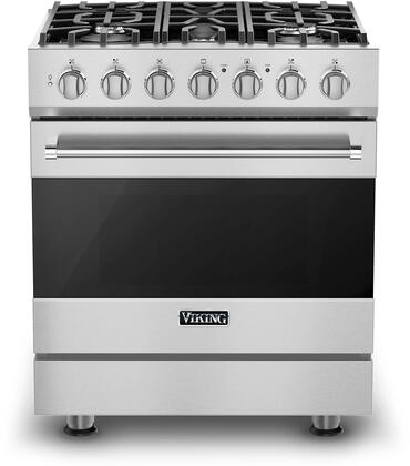 "Viking RVGR33025B 30"" 3 Series Self-Cleaning Gas Range with 5 Sealed Burners, SureSpark Ignition System, 4 cu. ft. Oven Capacity, Convection Oven, ProFlow Convection Air Baffle, and 2 Halogen Oven Lights: Stainless Steel"