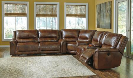 Signature Design by Ashley Jayron U76600 Sectional Sofa with 2-Seat Reclining Sofa, Wedge and Double Reclining Loveseat with Console in Harness