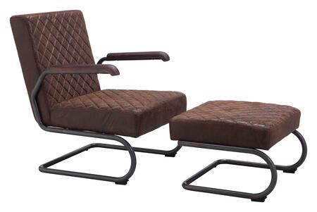 """Zuo 1004 Father Collection 23"""" Lounge Chair with Cantilever Style Frame, and Quilted Textured Fabric"""