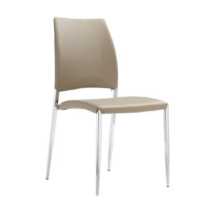 "Casabianca Romance Collection CB-F3157 35"" Dining Chair with Eco-Leather Upholstery, Stitched Detailing and Tapered Chrome Legs in"