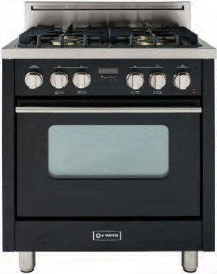 "Verona VEFSGG31ENG 30"" Pro Series Natural Gas Freestanding Range with Sealed Burner Cooktop, 3 cu. ft. Primary Oven Capacity, in Black"