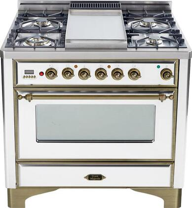 """Ilve UM90FMPBY 36"""" Majestic Series Dual Fuel Freestanding Range with Sealed Burner Cooktop, 2.8 cu. ft. Primary Oven Capacity, Warming in True White"""