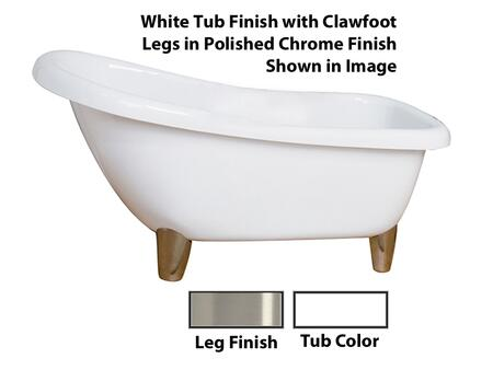 "Barclay ASN67MEWH Garwood 67"" Acrylic Roll Top Slipper Tub, Tub in White Finish, Modern ClawFoot Design, No Overflow, No Faucet Holes, with Clawfoot Finish in"
