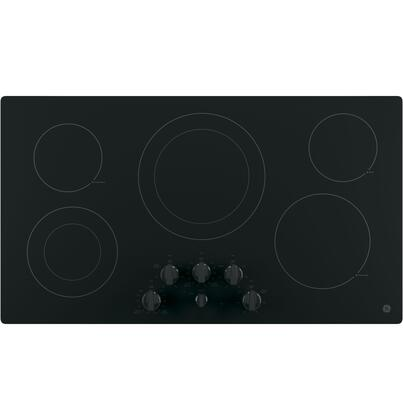 """GE JP3536 36"""" Built-in Electric Cooktop with Five Radiant Cooking Elements, Front Centered Control Knobs, Keep-Warm and Melt Settings in"""