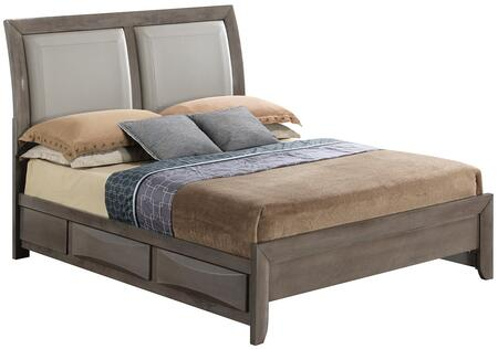 Glory Furniture G1505DD Size Bed with Dovetailed Drawer, Beveled Edge, Tapered Legs in Gray