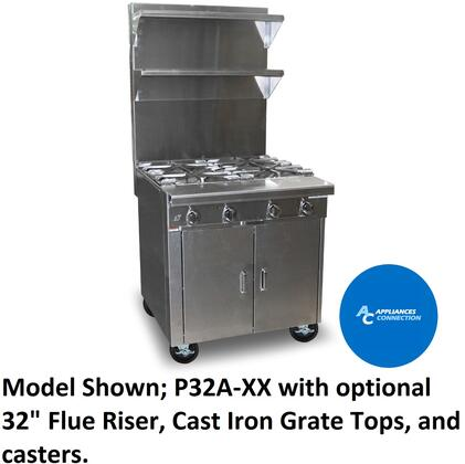 """Southbend P32XX Platinum Series 32"""" Sectional Open-Top Range with All Stainless Steel Construction and Four Pyromax Clog-Free Burners, Up to 180000 BTUs (NG/LP)"""