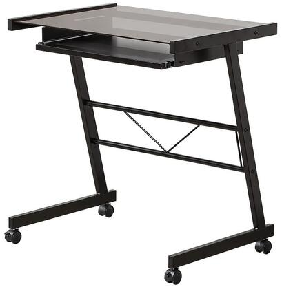"Coaster Desks 800817 28.5"" Computer Desk with Tempered Glass Top, Sliding Keyboard Tray and Casters in"
