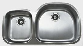 "Ukinox D537604010 38"" Wide Undermount Double Bowl Sink - 18-Gauge: Stainless Steel Big Bowl Location"