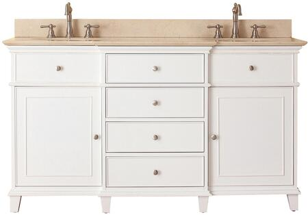 "Avanity Windsor Collection WINDSOR-VS60-WT-X 60"" Double Sink Vanity with X Top, Undermount Sink, 2 Soft-Close Doors, and 6 Drawers in White Finish"