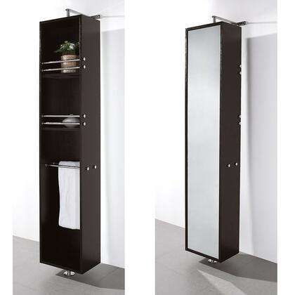 Wyndham Collection WCV202 April Rotating Wall Cabinet with Mirror on One Side and Three Large Storage Spaces and Integrated Towel Racks on the Other in