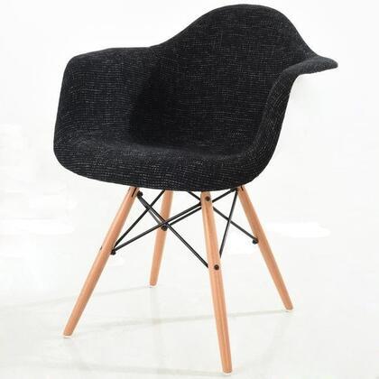 EdgeMod EM194NATBLK Vortex Series Armchair Fabric Wood and Metal Frame Accent Chair