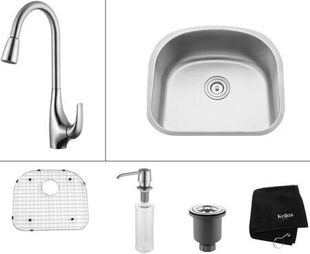 "Kraus KBU10KPF1621KSD30 Premier Series 23"" Undermount Single-Bowl Kitchen Sink with Kitchen Faucet and Soap Dispenser"