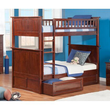 Atlantic Furniture AB5912 Nantucket Bunk Bed Twin Over Twin With Raised Panel Bed Drawers