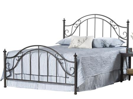 Hillsdale Furniture Clayton 1681BR Poster Bed with Round Finials, Scrollwork, Tubular Steel and Cast Metal Construction in Matte Brown Finish