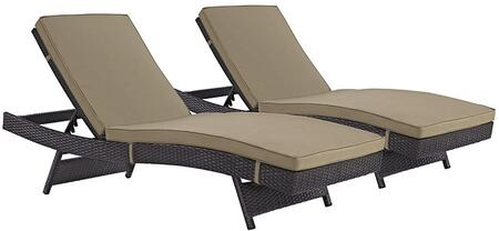 "Modway Convene Collection EEI-2428-EXP- Set of (2) 78"" Outdoor Patio Chaise with Powder Coated Aluminum Frame, Synthetic Rattan Weave and Fabric Upholstery in"