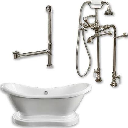 """Cambridge ADESPED398463PKG Acrylic Double Ended Pedestal Slipper Bathtub 68"""" x 28"""" with No Faucet Drillings and Complete Plumbing Package"""