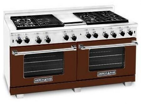 "American Range ARR6062GRLHB 60"" Heritage Classic Series Gas Freestanding Range with Sealed Burner Cooktop, 4.8 cu. ft. Primary Oven Capacity, in Brown"