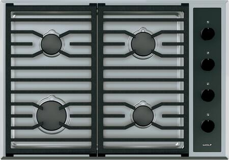 "Wolf CG304T 30"" Transitional Gas Cooktop with 4 Burners, Dual-Stacked Burners, Continuous Cast-Iron Grates, Individual Spark Ignition System, and Easy-Clean Seamless Burner Pan: Stainless Steel"