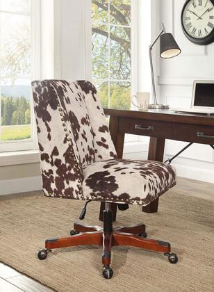 Linon Draper 178404UDM01U Draper Office Chair Udder Madness Milk Walnut Wood Base Lifestyle