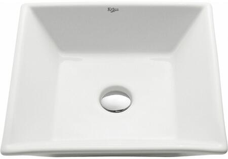 Kraus CKCV1251002 White Ceramic Series Sink and Faucet Bundle with Square Ceramic Vessel Sink and Sheven Faucet