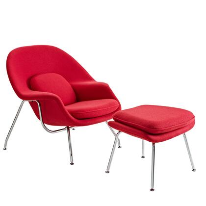 Modway EEI113RED Womb Series Armchair Fabric Metal Frame Accent Chair