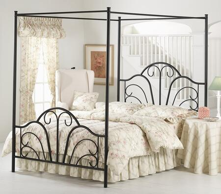 Hillsdale Furniture 348BP Dover Canopy Bed Set with Rails Not Included, Scroll Design and Tubular Steel Construction Textured Black Finish