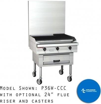 p36wccc platinum series sectional charbroiler range with all stainless steel construction six standard burners and