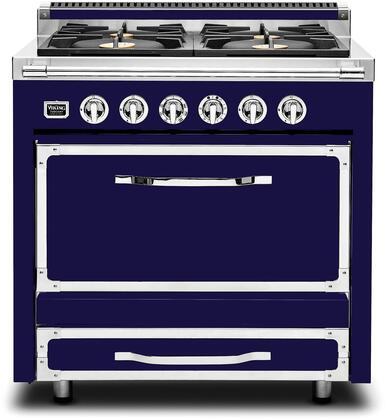 "Viking TVDR3604B 36"" Tuscany Series Professional Dual Fuel Range with 4 Sealed Burners, Storage Drawer, Electronic Spark Ignition and Porcelain Coated Cast Iron Grates:"
