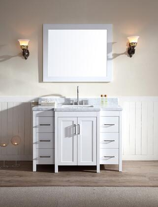 "Ariel E049S ARIEL Hollandale 49"" Single Sink Vanity Set with Marble Top, Mirror, Six Drawers and Two Doors in"
