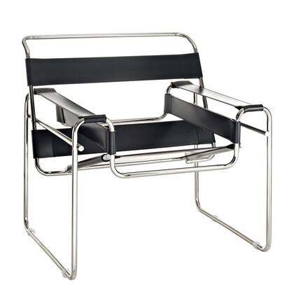 "Modway EEI-563 Slingy 16.5"" Lounge Chair with Modern Design, Chrome-Finished Frame, Taut Leather Slings, Rubber Floor Pads, and Full Assembly"
