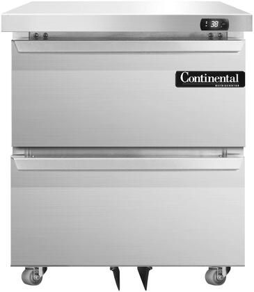 """Continental Refrigerator SW27X 27"""" Undercounter Refrigerator with Aluminum Interior, Casters, 7.4 Cu. Ft. Storage Capacity, Digital Display, Electronic Controls, and R134-a Refrigerant, in Stainless Steel"""