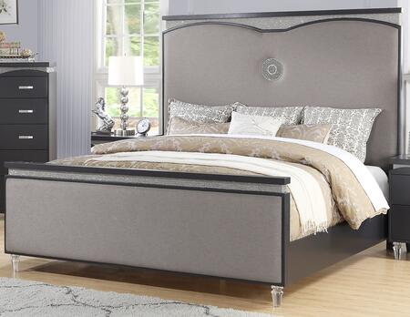 Cosmos Furniture Valencia Collection VALENCIA XBED Size Bed with Upholstered Panels, Clean Line Design, Tapered Legs and Sturdy Wood Construction in Black