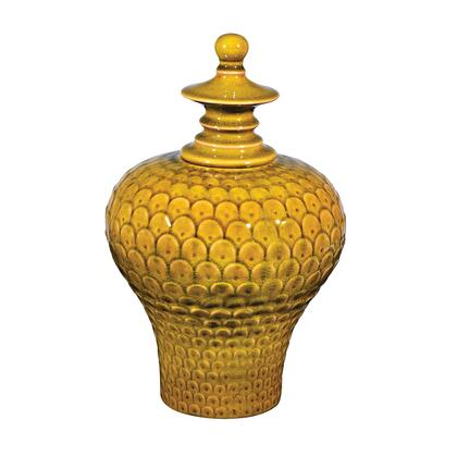 Sterling Jar Collection Jar with Removable Lid, Feathered Texture and Ceramic Material in Chartreuse Finish