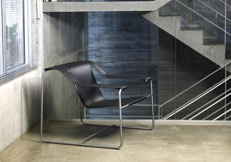 Modloft PTN018ASC5 Frederick Series Leather Lounge with Metal Frame in Black