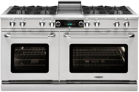 """Capital Connoisseurian COB604G4-X 60"""" Freestanding Dual Fuel Electric Range with 8 Open Burners, Primary 4.6 Cu. Ft. Oven Cavity, Secondary 3.1 Cu. Ft. Oven Cavity, and Moto-Rotis, in Stainless Steel"""